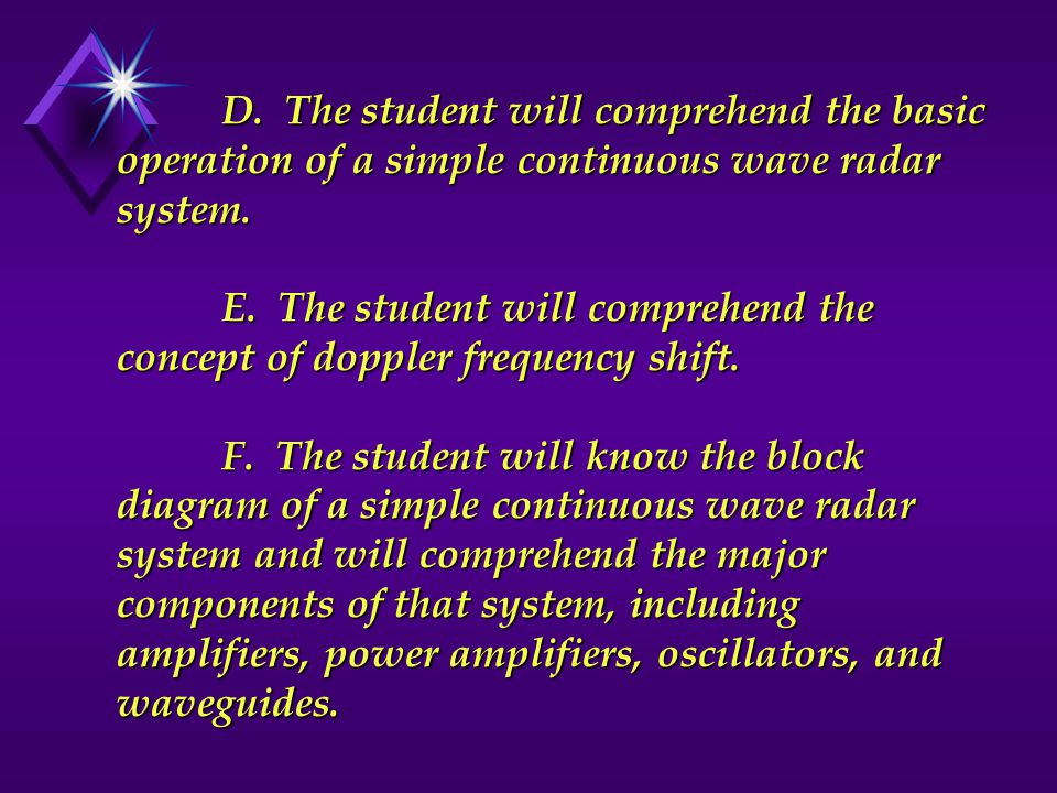 D.The student will comprehend the basic operation of a simple continuous wave radar system.
