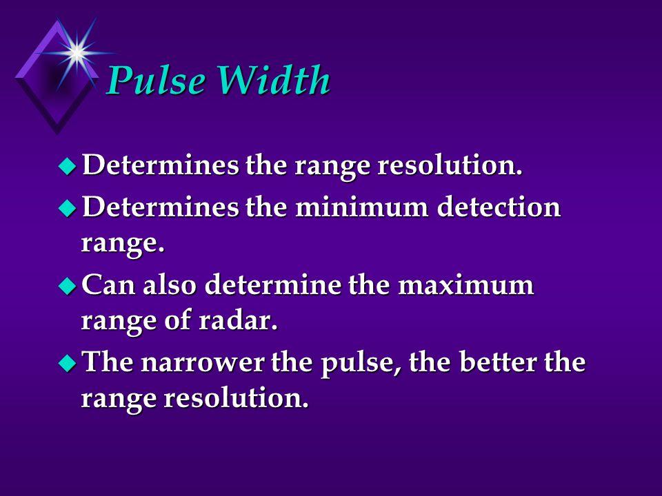 Pulse Width u Determines the range resolution.u Determines the minimum detection range.