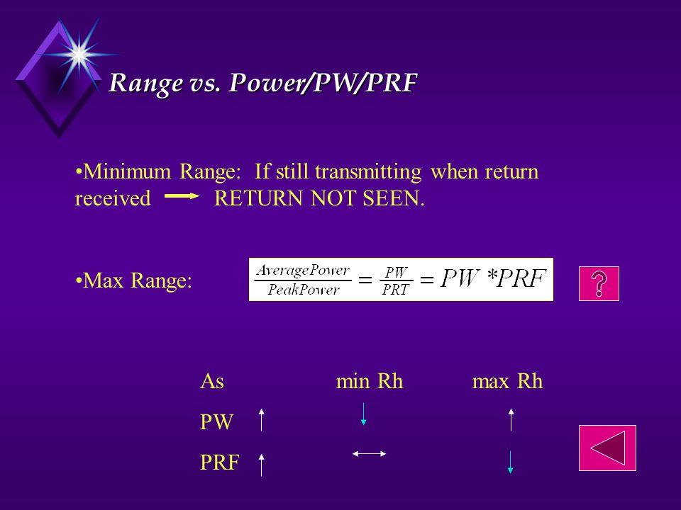 Range vs.Power/PW/PRF Minimum Range: If still transmitting when return received RETURN NOT SEEN.