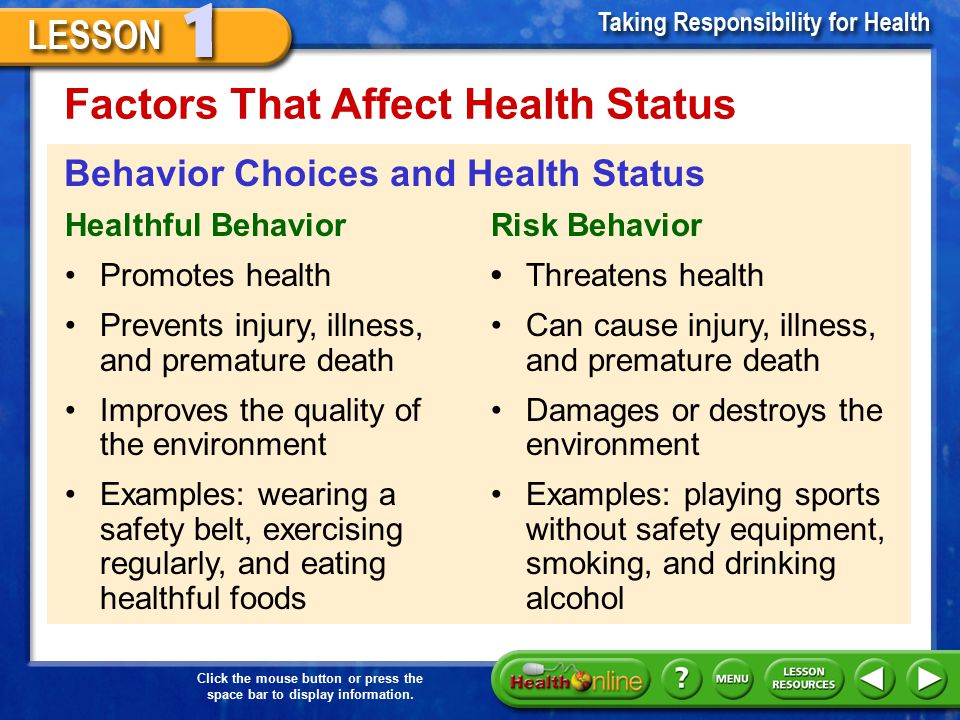 Click the mouse button or press the space bar to display information. Factors That Affect Health Status 3.Behaviors –A person's behavior is the way a