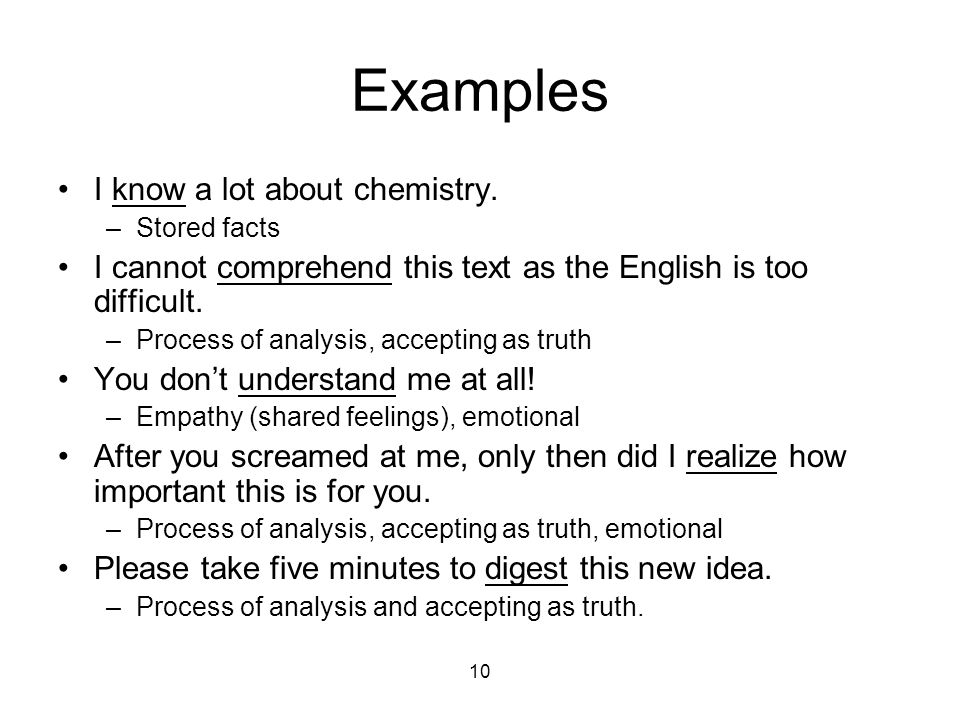 10 Examples I know a lot about chemistry.