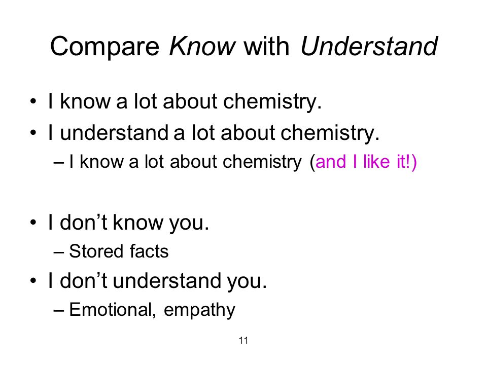 11 Compare Know with Understand I know a lot about chemistry.