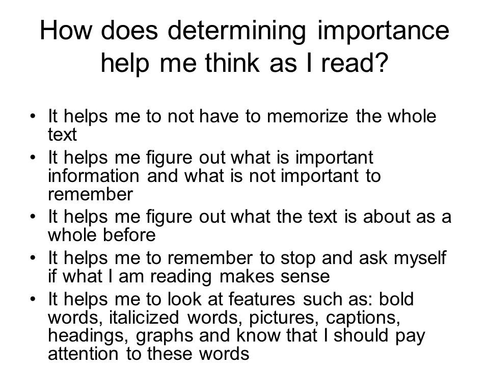How does determining importance help me think as I read.