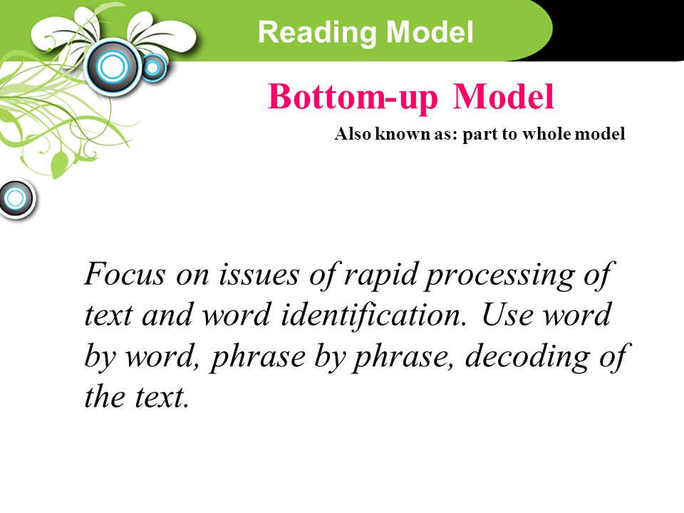Reading Model Bottom-up Model Also known as: part to whole model Focus on issues of rapid processing of text and word identification. Use word by word