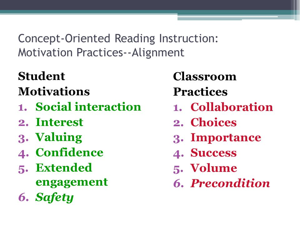 Concept-Oriented Reading Instruction: Motivation Practices--Alignment Student Motivations 1.Social interaction 2.Interest 3.Valuing 4.Confidence 5.Extended engagement 6.Safety Classroom Practices 1.Collaboration 2.Choices 3.Importance 4.Success 5.Volume 6.Precondition