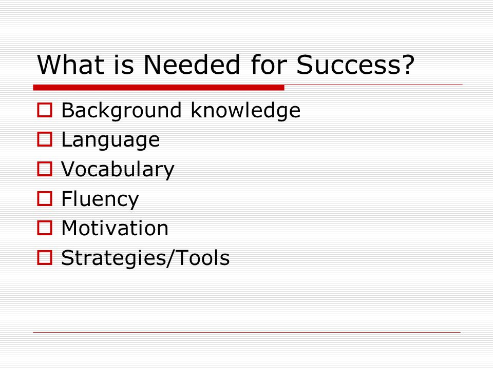 What is Needed for Success?  Background knowledge  Language  Vocabulary  Fluency  Motivation  Strategies/Tools