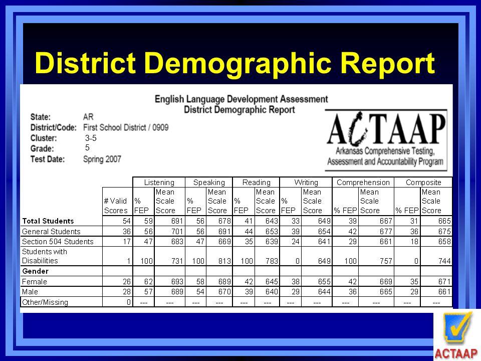 District Demographic Report 3-5 5