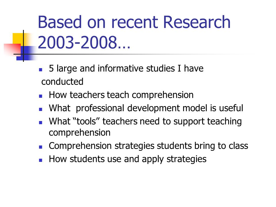 Research Validated Strategies based on 30 years of research 1.