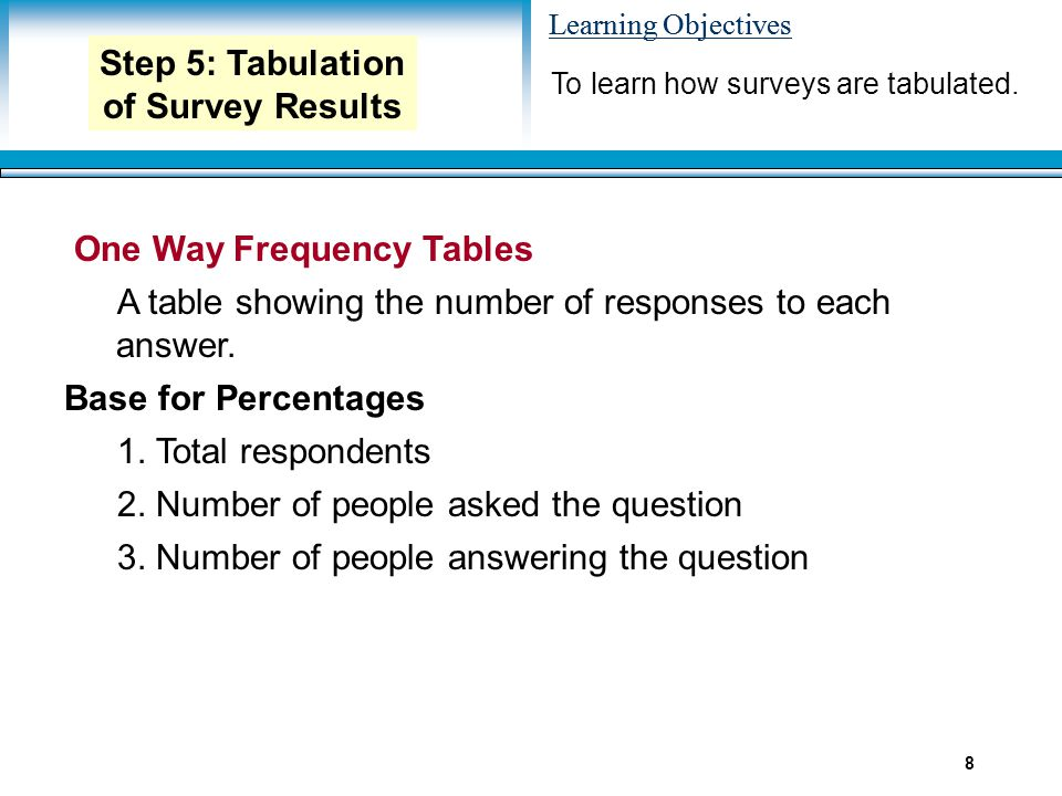 Learning Objectives 8 One Way Frequency Tables A table showing the number of responses to each answer. Base for Percentages 1. Total respondents 2. Nu