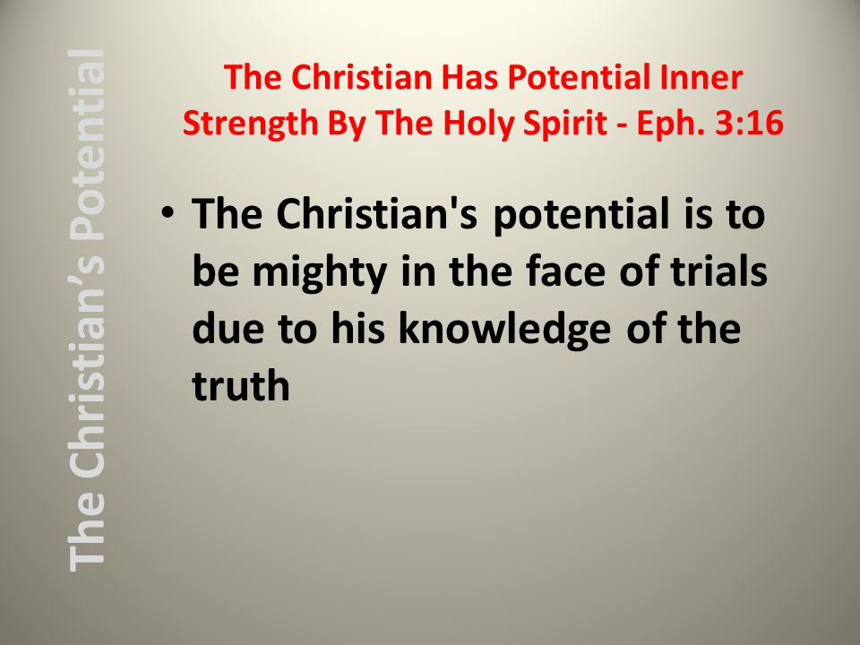 The Christian Has Potential Inner Strength By The Holy Spirit - Eph.