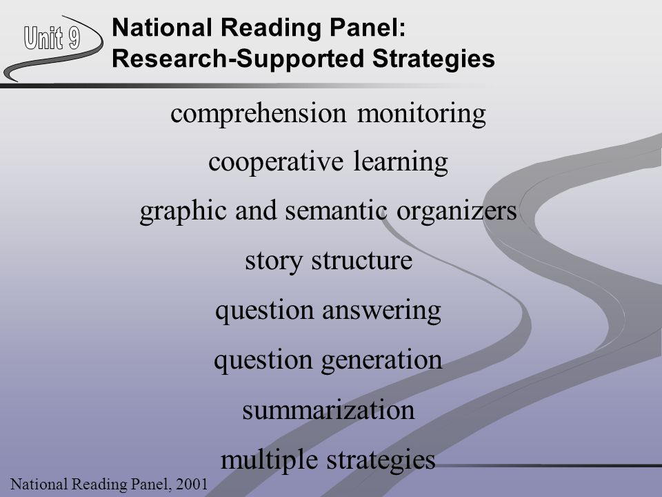 National Reading Panel: Research-Supported Strategies comprehension monitoring cooperative learning graphic and semantic organizers story structure qu