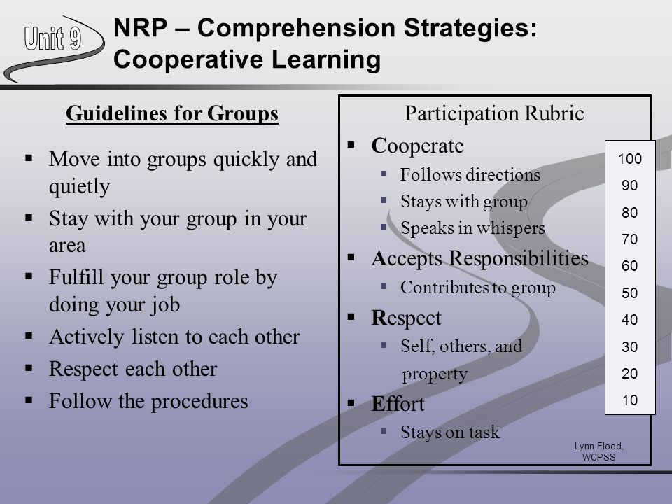 NRP – Comprehension Strategies: Cooperative Learning Guidelines for Groups  Move into groups quickly and quietly  Stay with your group in your area