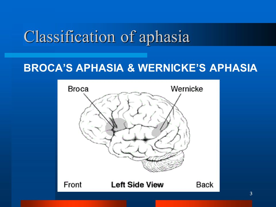 3 Classification of aphasia BROCA'S APHASIA & WERNICKE'S APHASIA