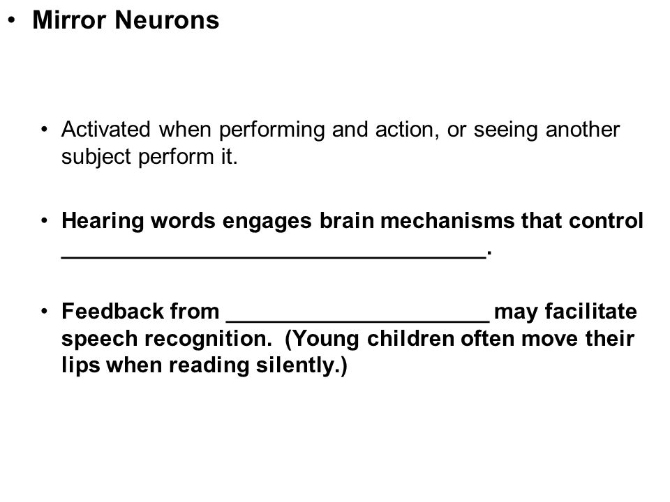 Mirror Neurons Activated when performing and action, or seeing another subject perform it.