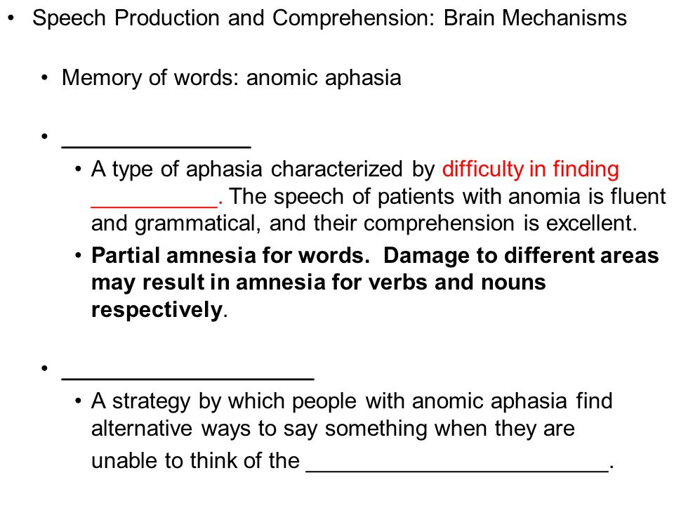 Copyright © 2008 Pearson Allyn & Bacon Inc.27 Speech Production and Comprehension: Brain Mechanisms Memory of words: anomic aphasia _______________ A type of aphasia characterized by difficulty in finding __________.