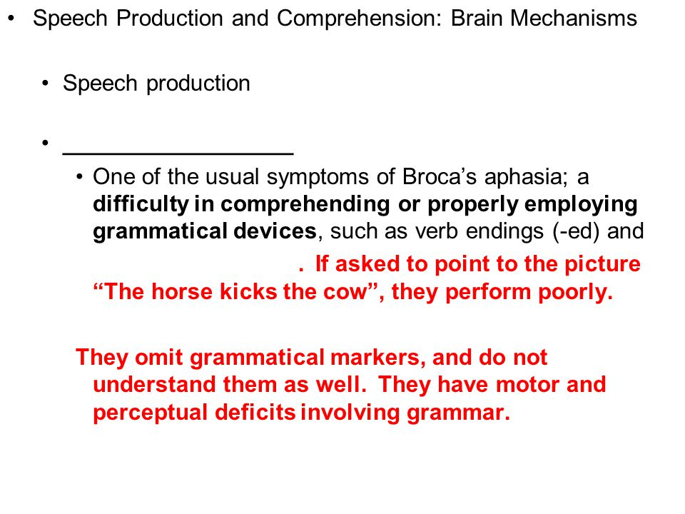 9 Speech Production and Comprehension: Brain Mechanisms Speech production __________________ One of the usual symptoms of Broca's aphasia; a difficult