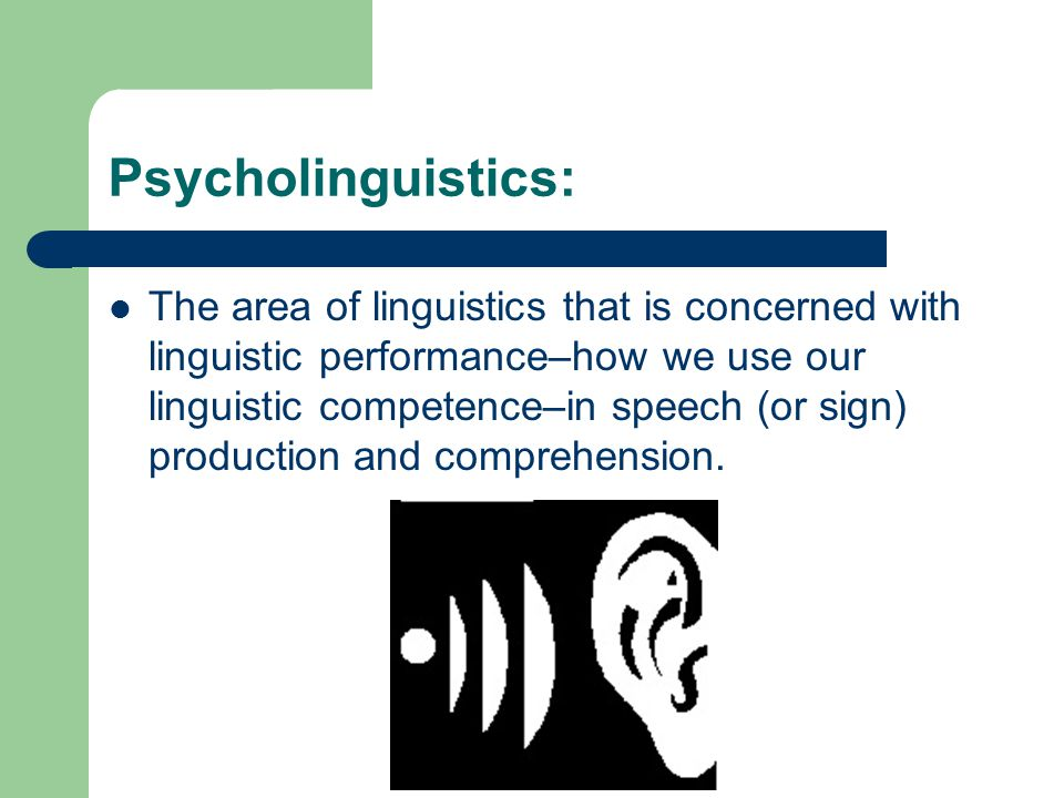 Psycholinguistics: The area of linguistics that is concerned with linguistic performance–how we use our linguistic competence–in speech (or sign) production and comprehension.