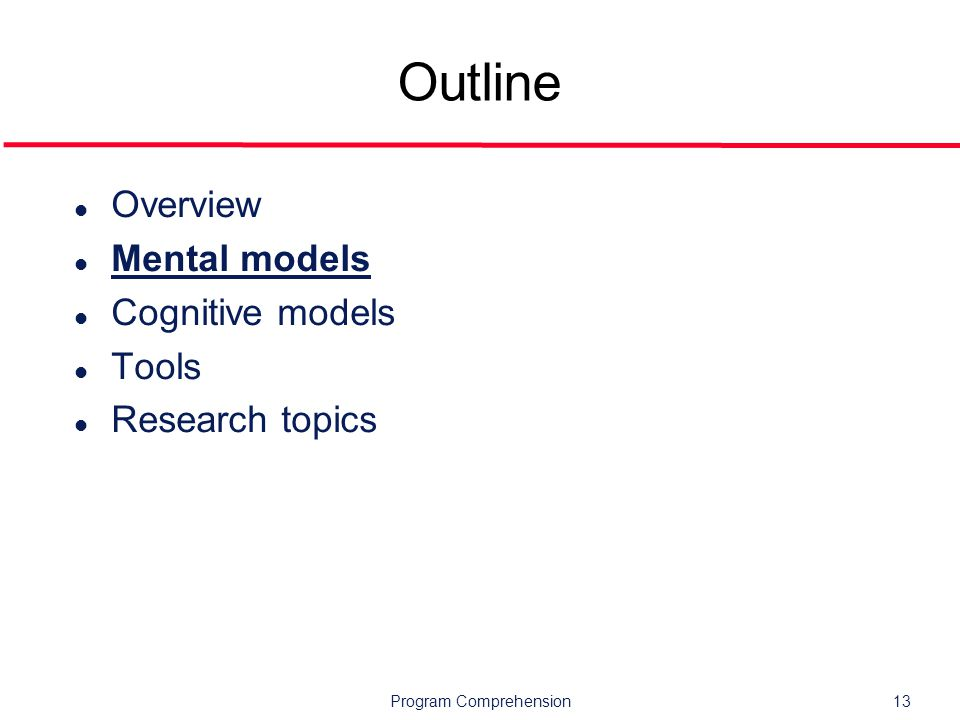 Program Comprehension13 Outline l Overview l Mental models l Cognitive models l Tools l Research topics