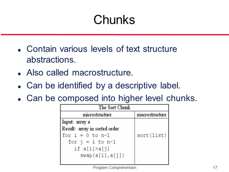 Program Comprehension17 Chunks l Contain various levels of text structure abstractions.