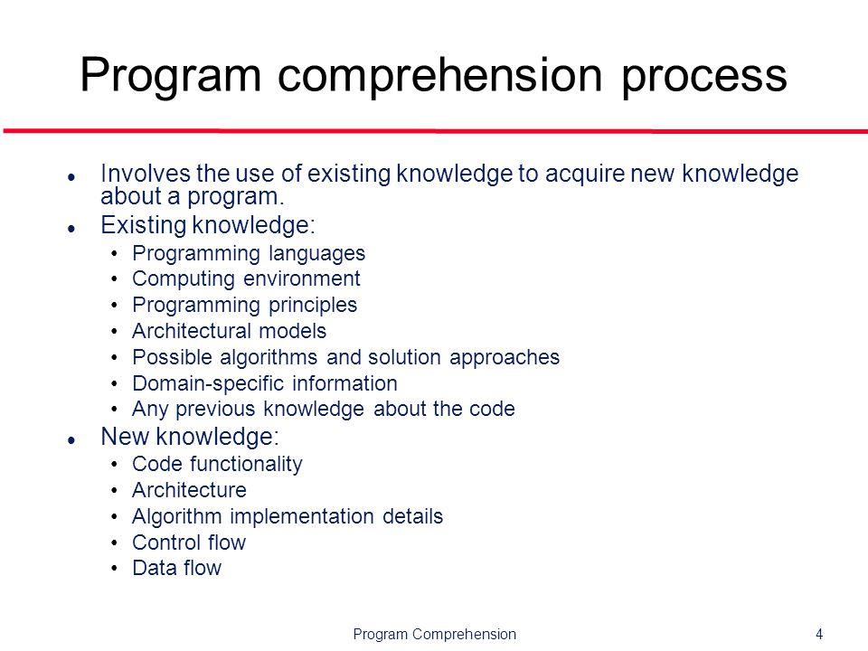 Program Comprehension25 Outline l Overview l Mental models l Cognitive models l Tools l Research topics