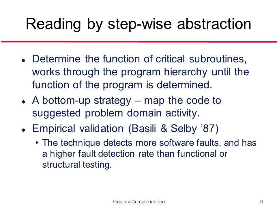 Program Comprehension37 Outline l Overview l Mental models l Cognitive models l Tools l Research topics