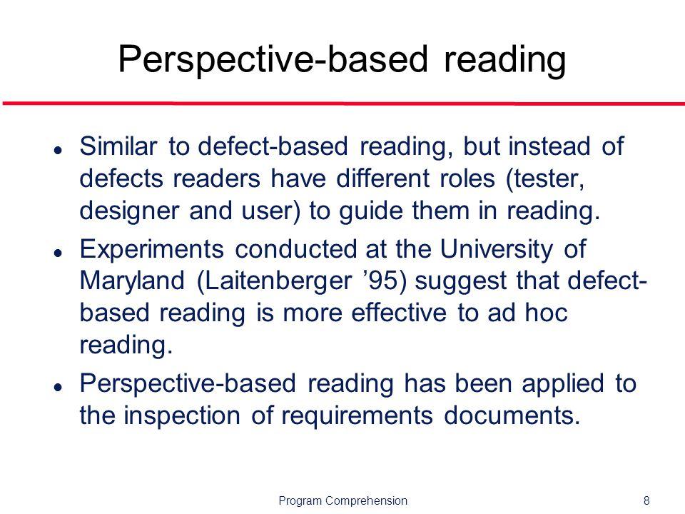 Program Comprehension39 Additional references l Susan Elliott Sim.