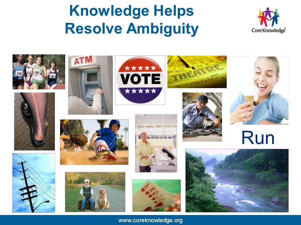 ©2013 Core Knowledge Foundation. Knowledge Helps Resolve Ambiguity Run www.coreknowledge.org