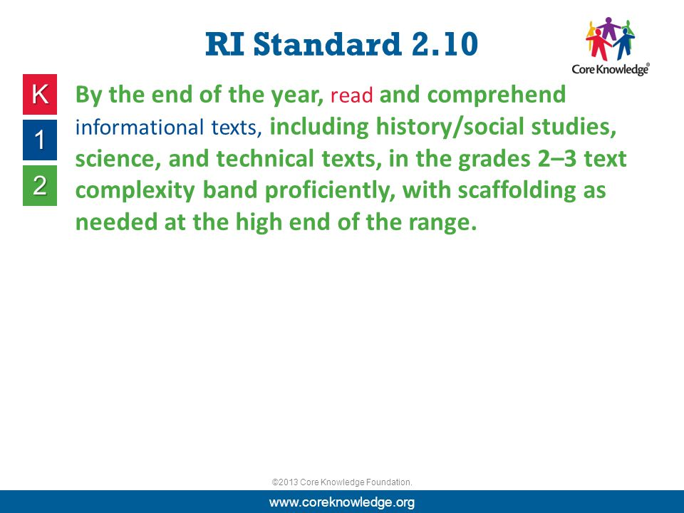 ©2013 Core Knowledge Foundation. RI Standard 2.10 K 1 2 By the end of the year, read and comprehend informational texts, including history/social stud