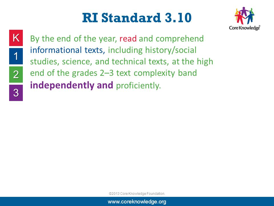 ©2013 Core Knowledge Foundation. RI Standard 3.10 K 1 2 3 By the end of the year, read and comprehend informational texts, including history/social st
