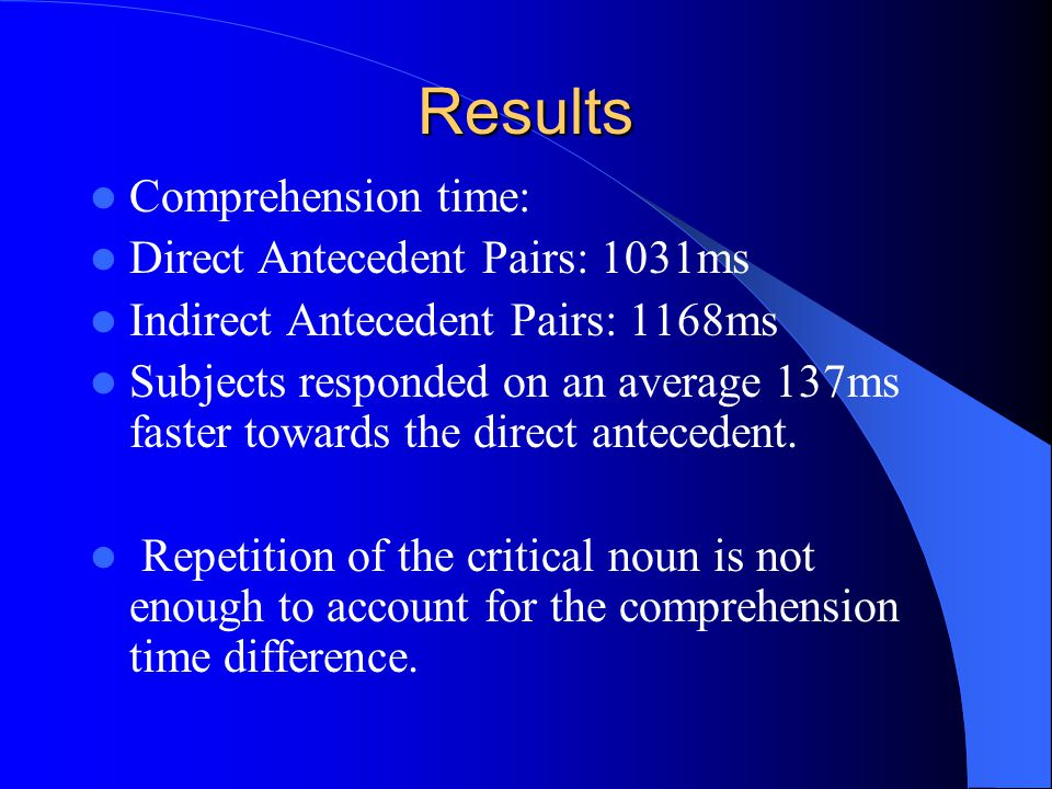 Results Comprehension time: Direct Antecedent Pairs: 1031ms Indirect Antecedent Pairs: 1168ms Subjects responded on an average 137ms faster towards th