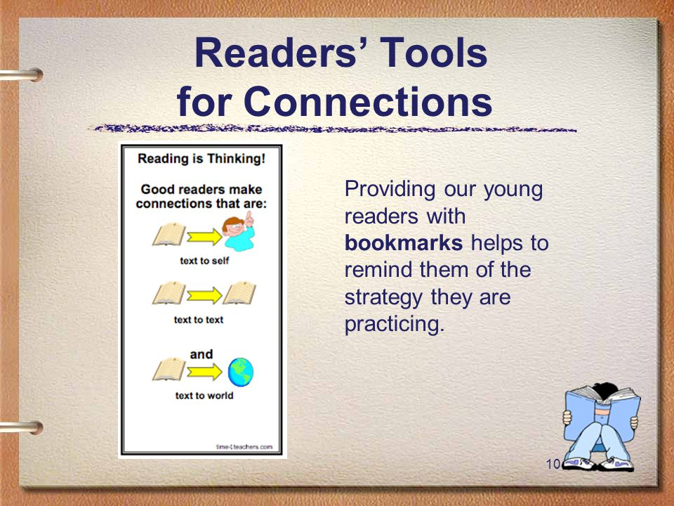 10 Readers' Tools for Connections Providing our young readers with bookmarks helps to remind them of the strategy they are practicing.