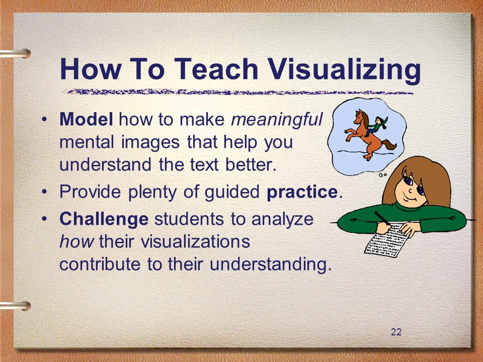 22 How To Teach Visualizing Model how to make meaningful mental images that help you understand the text better. Provide plenty of guided practice. Ch