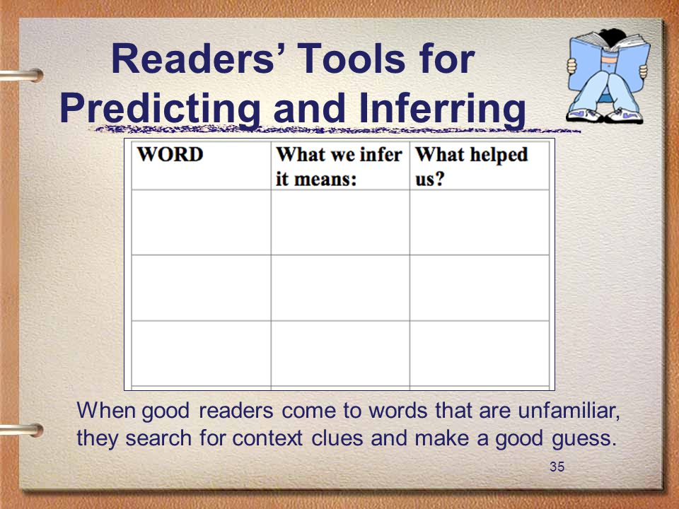 35 Readers' Tools for Predicting and Inferring When good readers come to words that are unfamiliar, they search for context clues and make a good gues