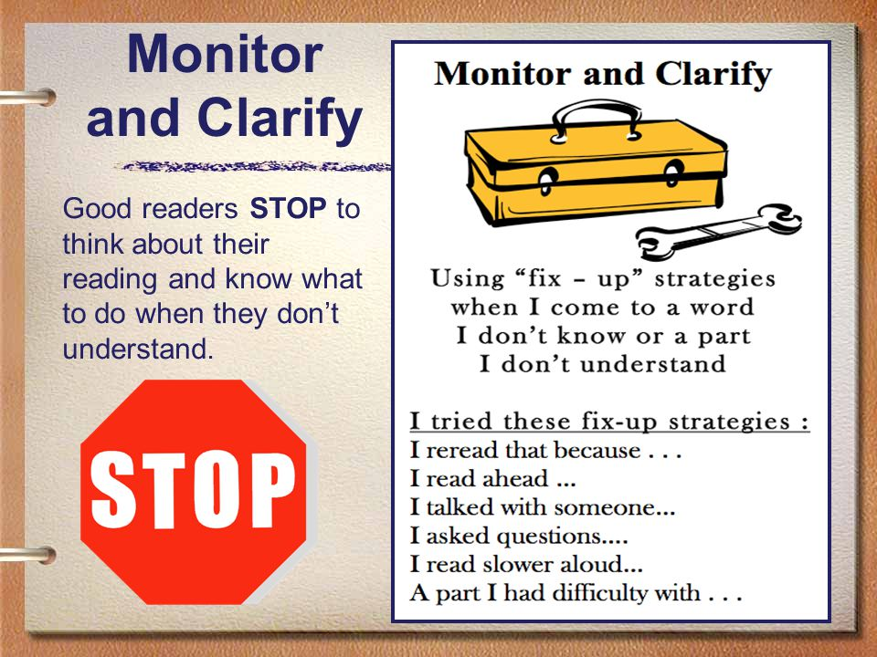 50 Monitor and Clarify Good readers STOP to think about their reading and know what to do when they don't understand.