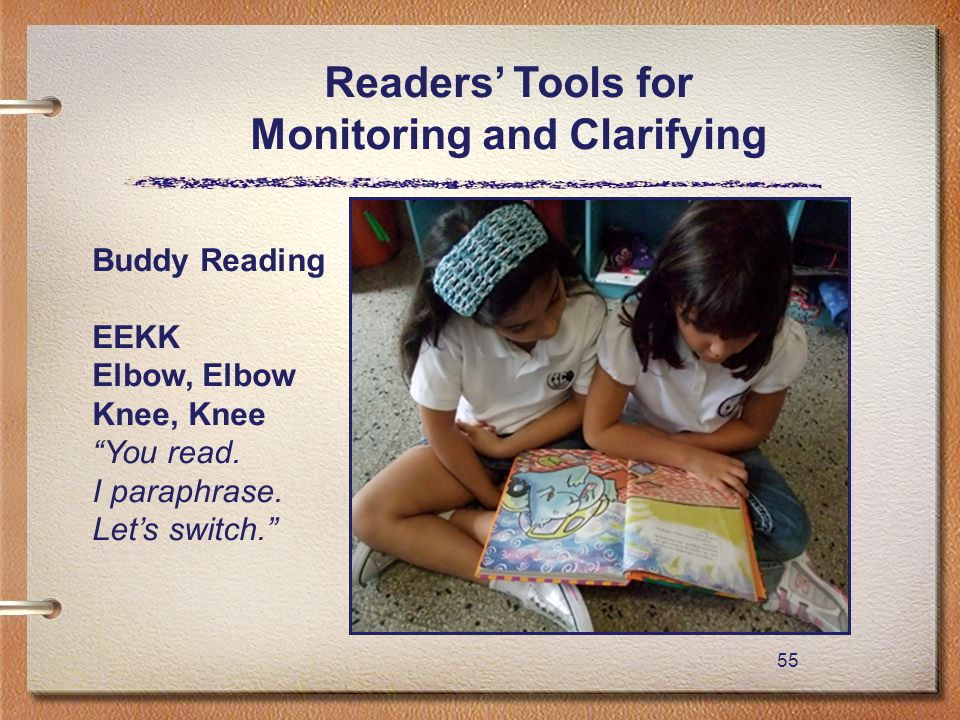 "55 Readers' Tools for Monitoring and Clarifying Buddy Reading EEKK Elbow, Elbow Knee, Knee ""You read. I paraphrase. Let's switch."""