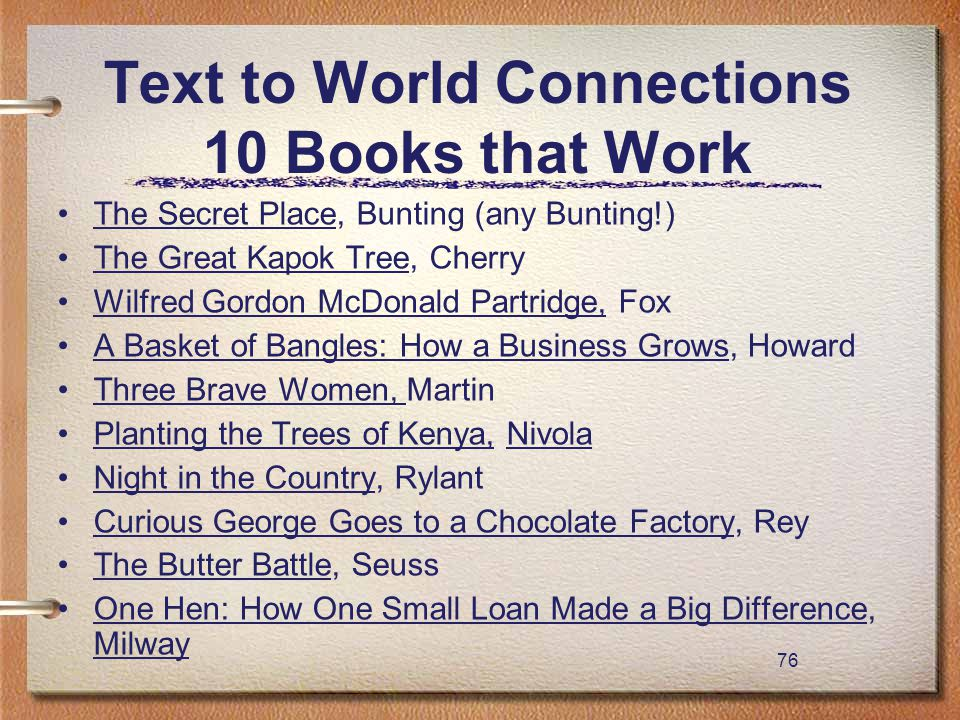 76 Text to World Connections 10 Books that Work The Secret Place, Bunting (any Bunting!) The Great Kapok Tree, Cherry Wilfred Gordon McDonald Partridg