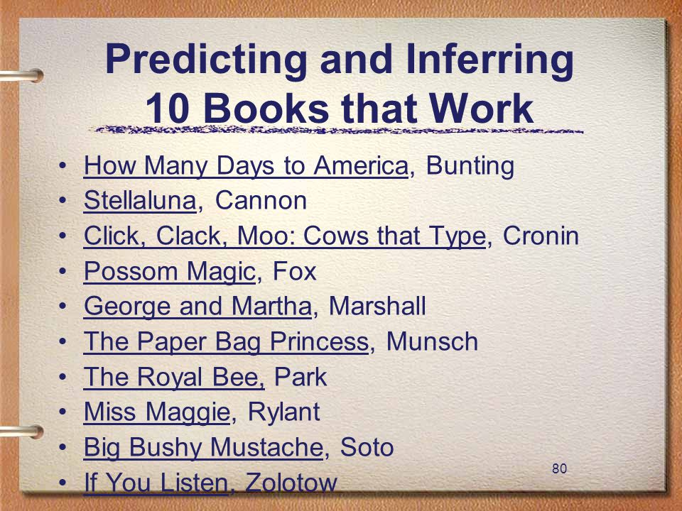 80 Predicting and Inferring 10 Books that Work How Many Days to America, Bunting Stellaluna, Cannon Click, Clack, Moo: Cows that Type, Cronin Possom M