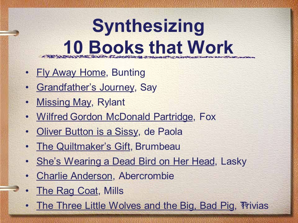 86 Synthesizing 10 Books that Work Fly Away Home, Bunting Grandfather's Journey, Say Missing May, Rylant Wilfred Gordon McDonald Partridge, Fox Oliver