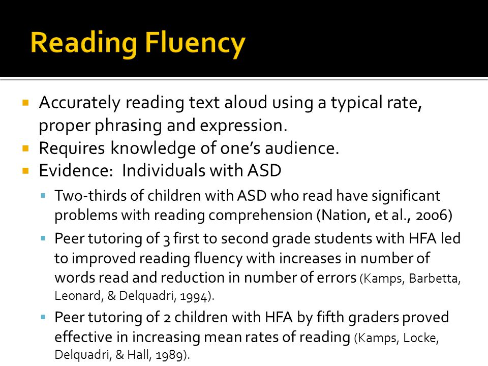  Accurately reading text aloud using a typical rate, proper phrasing and expression.