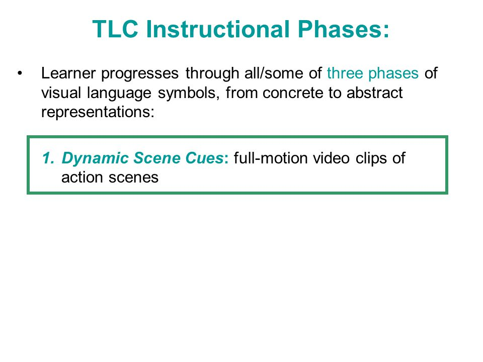 TLC Instructional Phases: Learner progresses through all/some of three phases of visual language symbols, from concrete to abstract representations: 1.Dynamic Scene Cues: full-motion video clips of action scenes