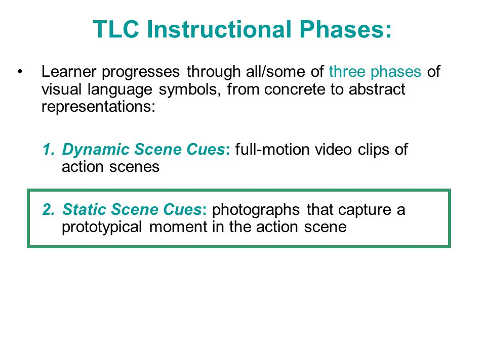 TLC Instructional Phases: Learner progresses through all/some of three phases of visual language symbols, from concrete to abstract representations: 1
