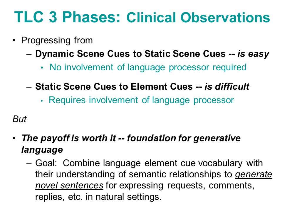 TLC 3 Phases: Clinical Observations Progressing from –Dynamic Scene Cues to Static Scene Cues -- is easy No involvement of language processor required