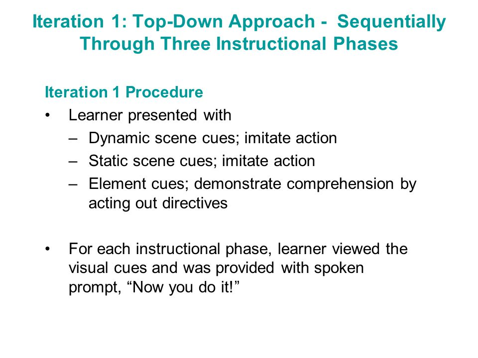 Iteration 1: Top-Down Approach - Sequentially Through Three Instructional Phases Iteration 1 Procedure Learner presented with –Dynamic scene cues; imi