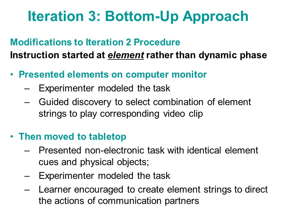 Iteration 3: Bottom-Up Approach Modifications to Iteration 2 Procedure Instruction started at element rather than dynamic phase Presented elements on computer monitor –Experimenter modeled the task –Guided discovery to select combination of element strings to play corresponding video clip Then moved to tabletop –Presented non-electronic task with identical element cues and physical objects; –Experimenter modeled the task –Learner encouraged to create element strings to direct the actions of communication partners
