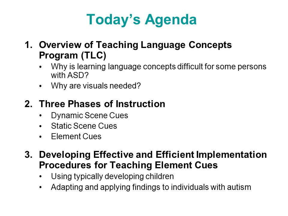 Today's Agenda 1.Overview of Teaching Language Concepts Program (TLC) Why is learning language concepts difficult for some persons with ASD.