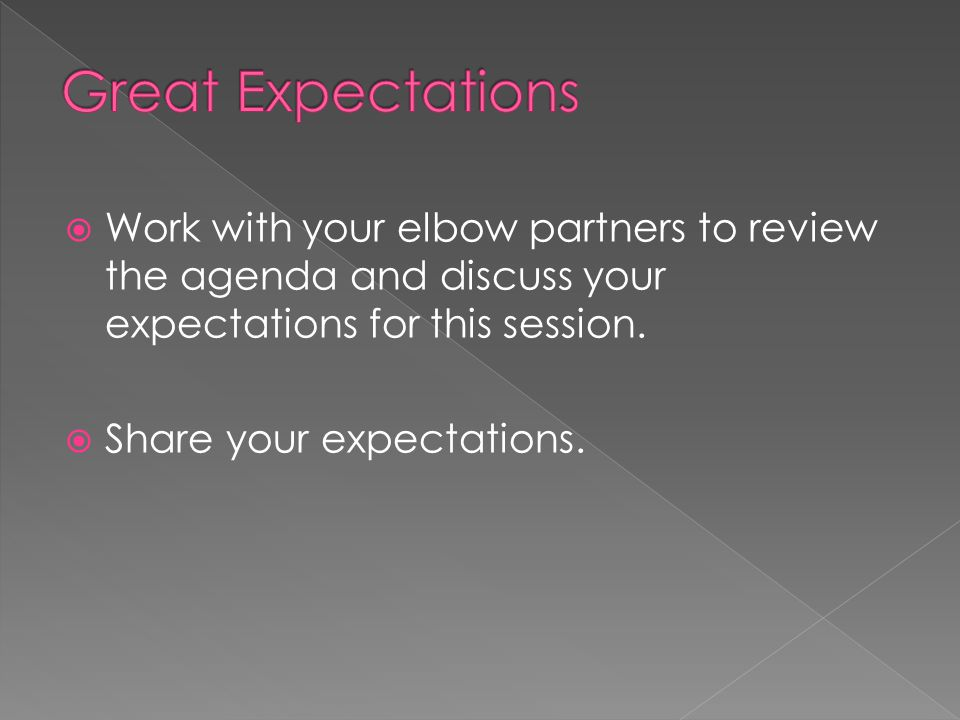  Work with your elbow partners to review the agenda and discuss your expectations for this session.