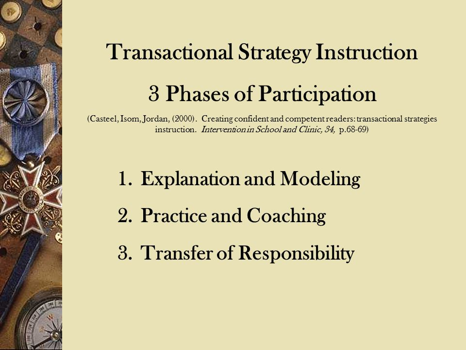 Direct Instruction By: Darch 1993 1.Presentation of an explicit problem solving strategy 2.Mastery teaching of each step in the strategy 3.Development of specific correction procedures for student errors 4.A gradual transition from teacher-directed work to independent work, and 5.Built –in cumulative review of previously taught concepts