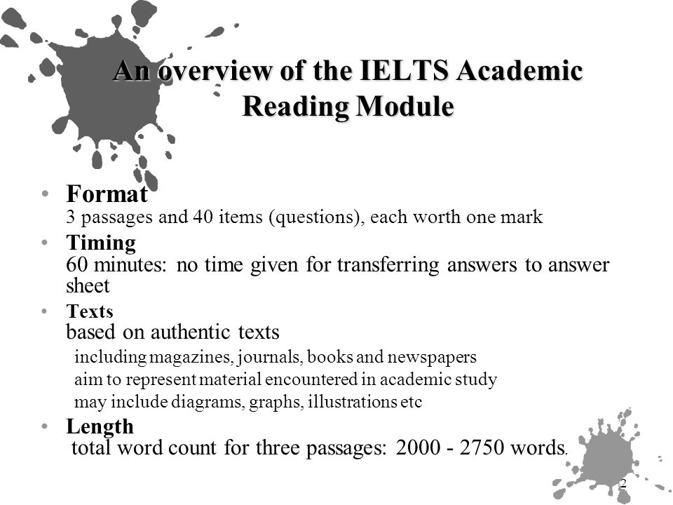 13 A sample of academic reading activities Vocabulary tasks Summary writing Interpreting charts and graphs Writing test materials Comparing texts Critical reading Reading for research: annotated bibliography