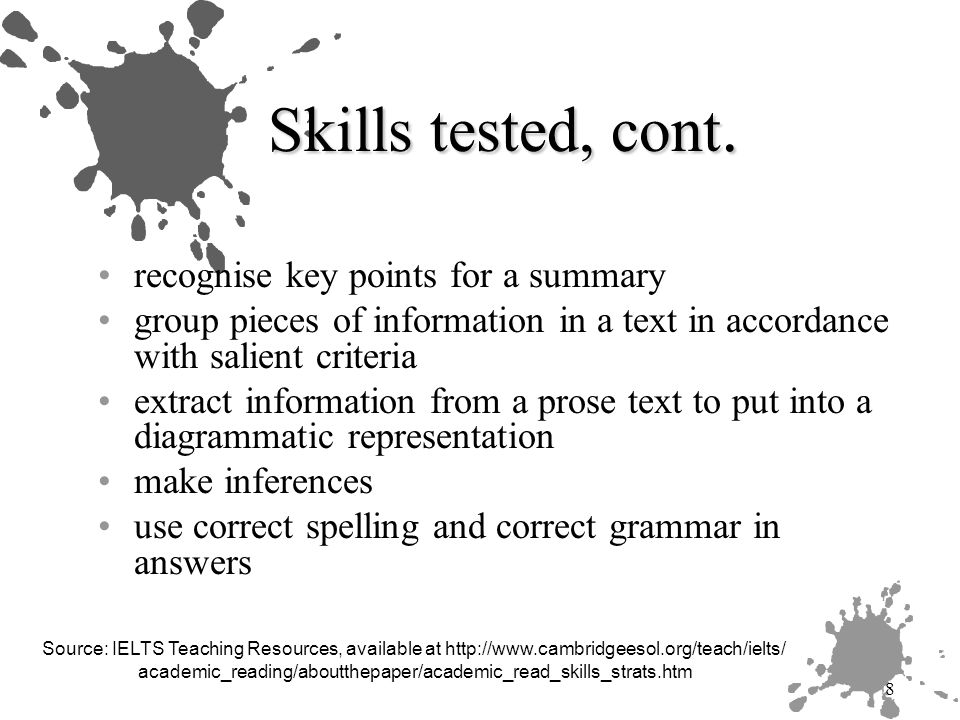 9 Challenges for candidates text types content Metacognitive skills and strategies Fluency/speed Application of background knowledge