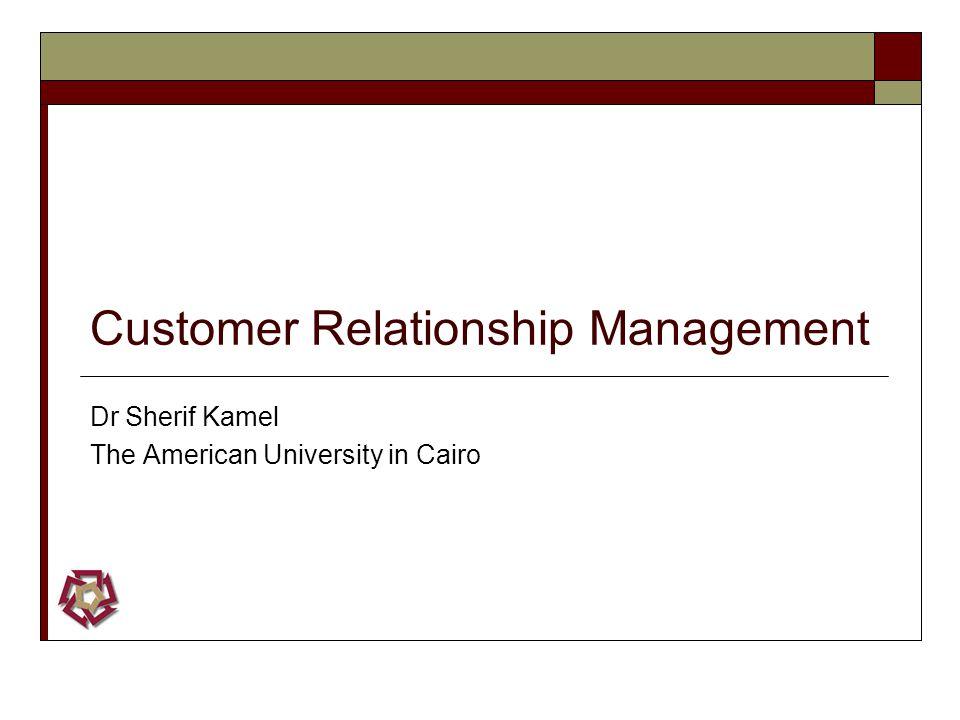 Customer Relationship Management Dr Sherif Kamel The American University in Cairo